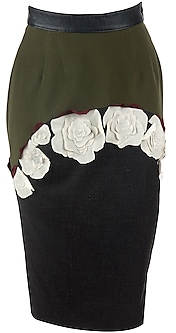 Moss Green Flower Applique Skirt