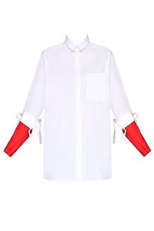 White Womens Shirt With Contrast Red Forearms by Huemn Project
