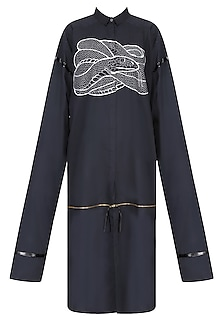 Black Snake Motif Oversized Shirt Dress