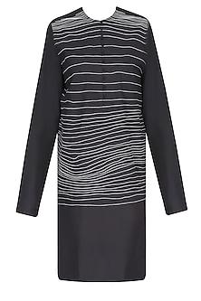 Black Handdrawn Stripes Tunic/ Kurta by Huemn Project