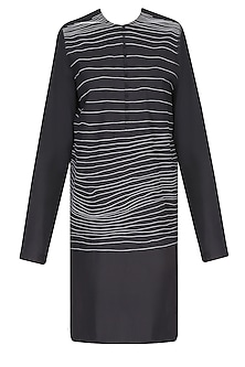 Black Handdrawn Stripes Tunic/ Kurta by Huemn Project