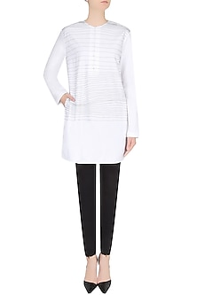 White Handdrawn Stripes Tunic/ Kurta by Huemn Project