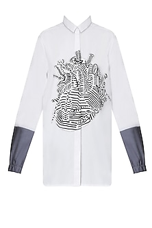 White Contrast Forearms Heart Shirt by Huemn Project
