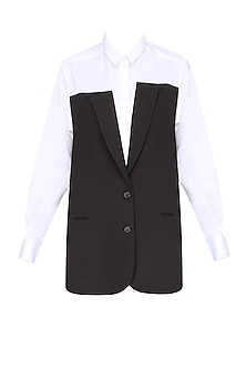 White and Black Jacket Panel Shirt by Huemn Project
