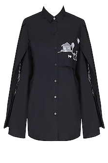 Black Free Panelled Hut Drawing Shirt