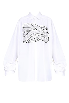 White Snake Motif Oversized Shirt