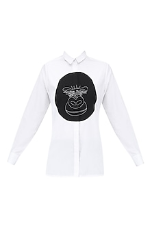 White Gorilla Applique Work Shirt