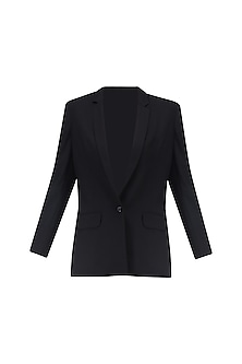 Black Front Open Blazer by Huemn Project