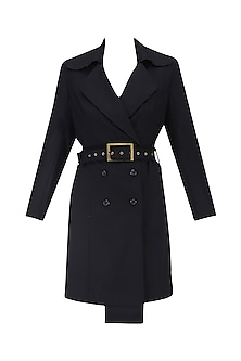 Black Overcoat with Waistbelt
