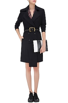 Black Overcoat with Waistbelt by Huemn Project