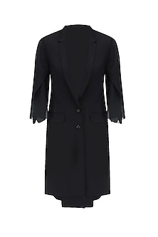 Black Overcoat with Net Sleeves