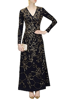 Navy blue silk embellished kardana scales dress by Huemn