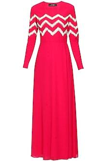 Hot pink silk embellished chevron stripes dress by Huemn