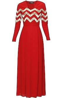 Red silk embellished chevron stripes dress by Huemn