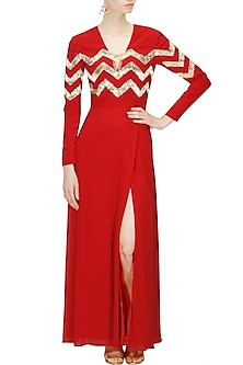 Red silk embellished chevron stripes dress by Huemn