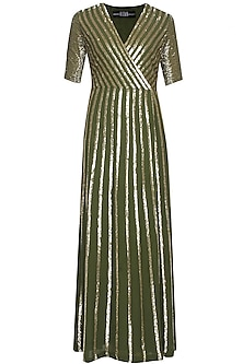 Moss green and gold sequin striped full length dress