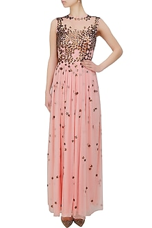Powder pink 3D copper flowers gown by Huemn