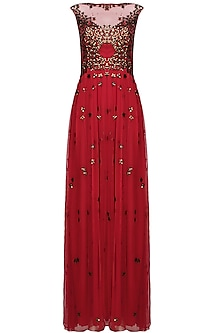 Red 3D copper flowers gown