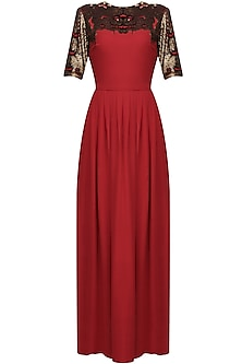 Gold and red snakeskin yoke dress by Huemn
