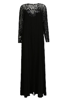 Black cutwork leather scales split front tunic by Huemn