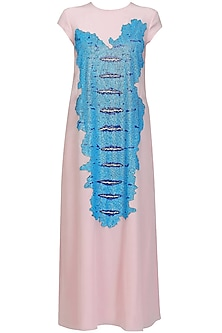 Powder pink and ice snakeskin front tunic by Huemn