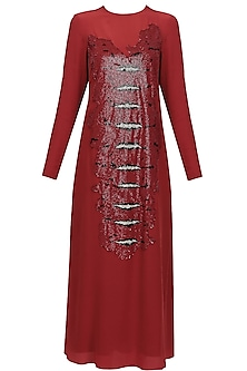 Red snakeskin front tunic by Huemn