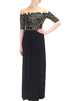 Silk scales gold and black peekaboo gown by Huemn