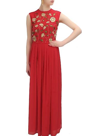 Red creeper zari flowers dress by Huemn