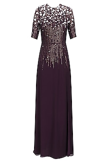 Dark Wine Sequinned 3D Floral Work Long Dress