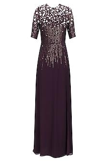 Dark Wine Sequinned 3D Floral Work Long Dress by Huemn