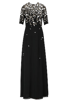 Black Sequinned 3D Floral Work Long Dress