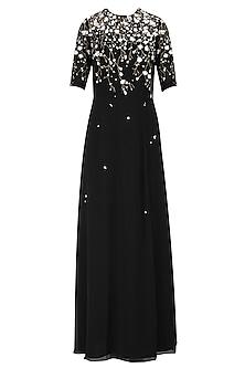 Black Sequinned 3D Floral Work Long Dress by Huemn