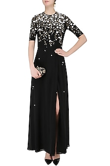 Black Sequinned 3D Floral Work Long Dress by Huemn