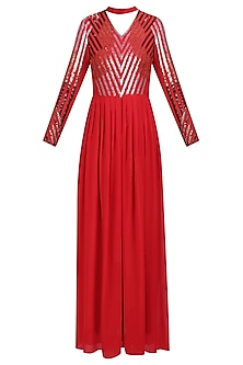Red and Silver Sequins Embellished Maxi Dress