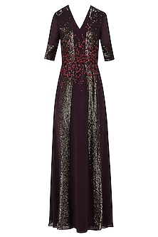 Dark Wine and Red Handcut 3D Floral Work Long Dress