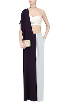 Dark wine and off white half and half drape saree trouser pants by Huemn