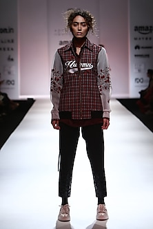 Red and Black Varsity Checkered Bomber Jacket by Huemn