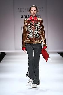 Gold Embellished Snakeskin Bomber Jacket by Huemn