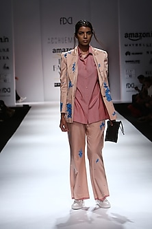 Powder Pink Torn Blue Snakeskin Detailing Suit