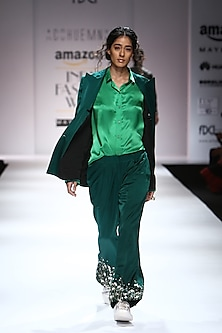 Emerald Green Floral Embroidered Suit by Huemn