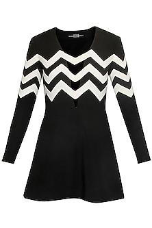 Black and White Chevron Stripes Neoprene Dress by Huemn