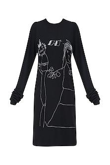 Black Designers Doodle T Shirt Dress