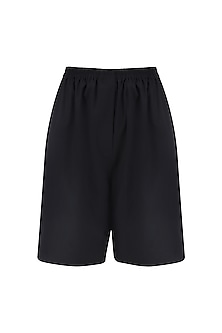 Black Elasticated Suiting Shorts