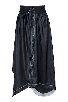 Black asymmetric metallic skirt