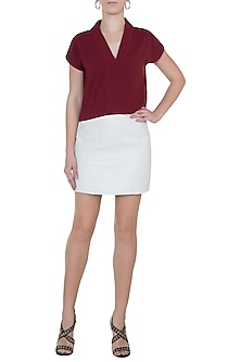 Oxy red high neck crop top by House of Behram
