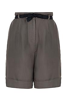 Grey pleated shorts
