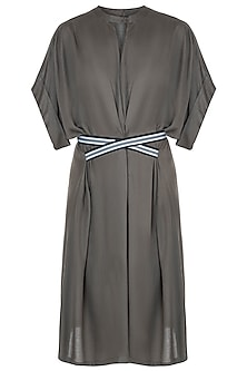 Grey pleated dress with belt
