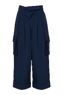 Navy blue wide leg trousers by House of Behram