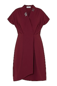 Oxy red embellished overlap dress