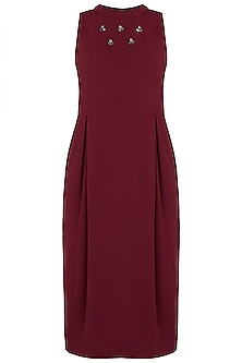Oxy red embellished halter neck dress